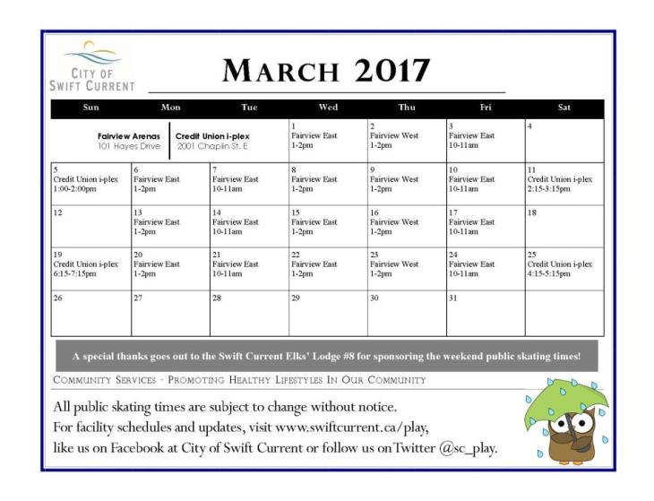 Public Skating Schedule - March 2017