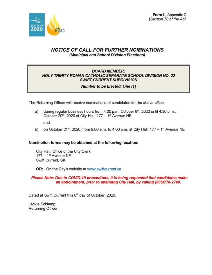 Form L - Notice of Call for Further Nominations